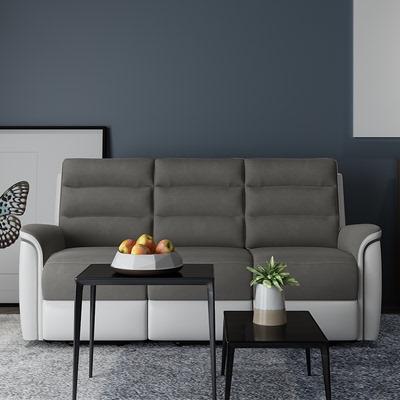 現代輕奢小戶型手動功能皮藝沙發簡約客廳現代多功能沙發組合家具
