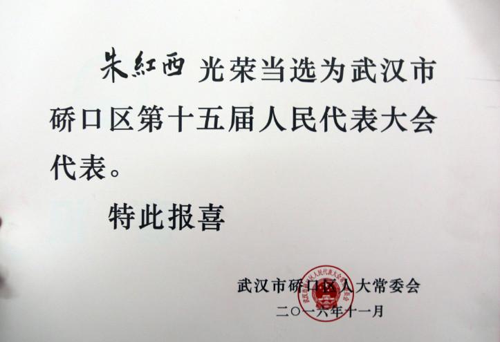 【市政機施】機械化公司黨委書記、董事長朱紅西同志光榮當選為武漢市硚口區第十五屆人大代表