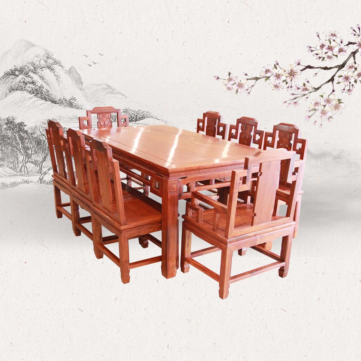 加长厂款明式餐桌9件套