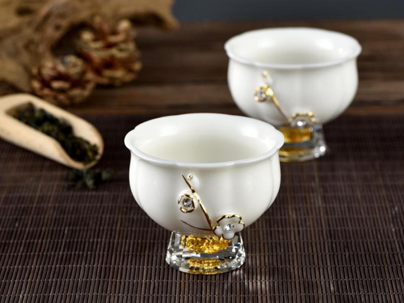 火狐体育公司白瓷圆口品茗乾坤杯 (两只装)