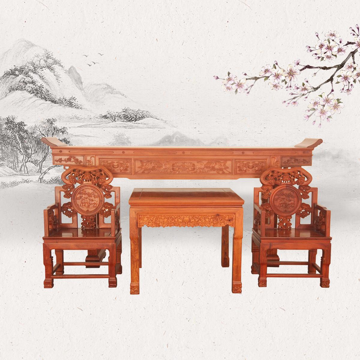 清式供桌+拉环八仙桌+灵芝太师椅