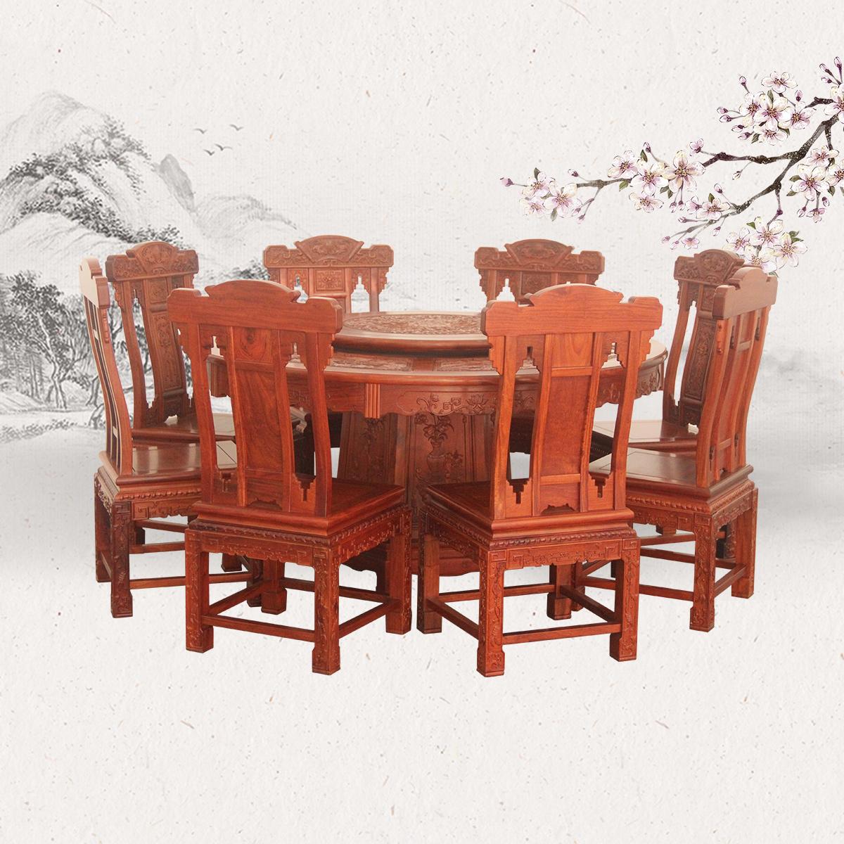 全雕花圆台配马蹄脚餐桌