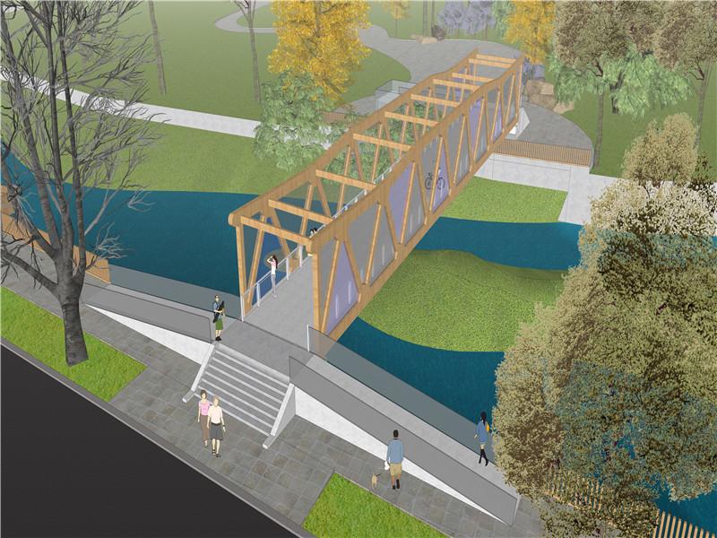 祁连县八宝河景观人行桥建设及旧桥景观提升工程初步设计
