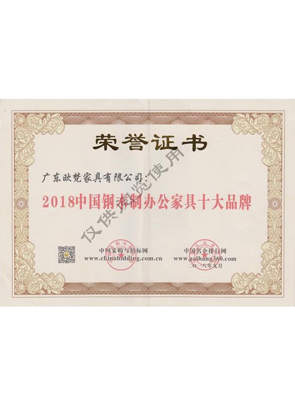 2018中國鋼木制辦公家具十大品牌