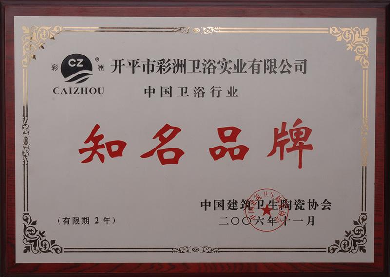 2006年度中国雷竞技App最新版行业知名品牌