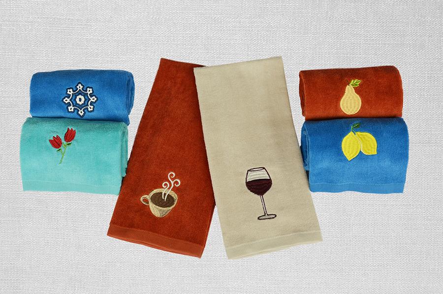 素色割绒巾+绣花